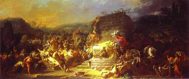 Dipinto che rappresenta I funerali di Patroclo
