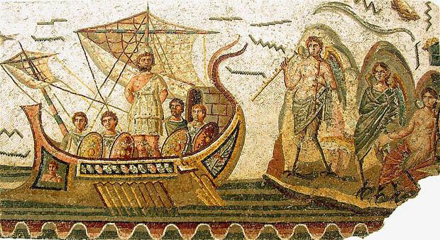Illustrazione di Ulisse legato all'albero maestro della nave per godere del canto delle Sirenre