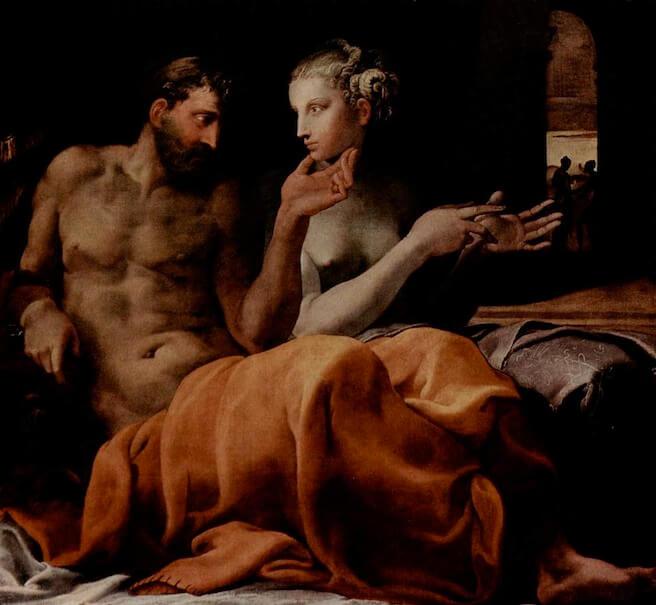Quadro rapresentante Ulisse che giace a letto con Penelope
