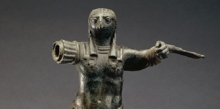 Standing figure of the ancient Egyptian god Horus, wearing Roman military costume (part.) bronze, Egypt, 1st–2nd century AD © The Trustees of the British Museum