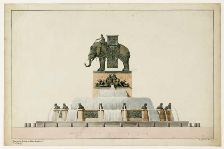 Progetto per la fontana della piazza della Bastiglia