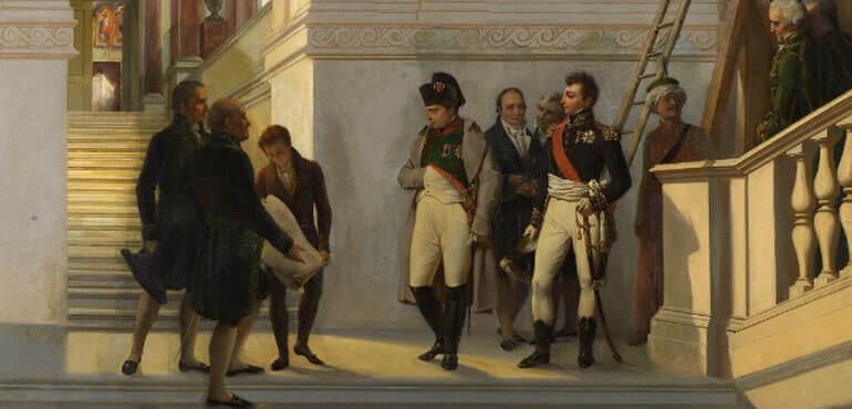 Napoleone visita la scalinata del Louvre