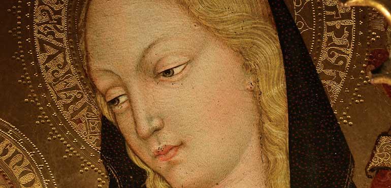 Particolare della Madonna con Bambino di Luca di Paolo