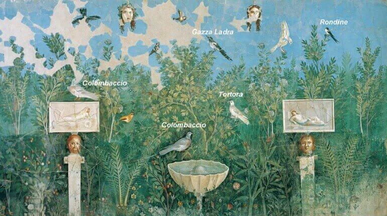 Uccelli dipinti nell'affresco della Casa del Bracciale d'oro di Pompei