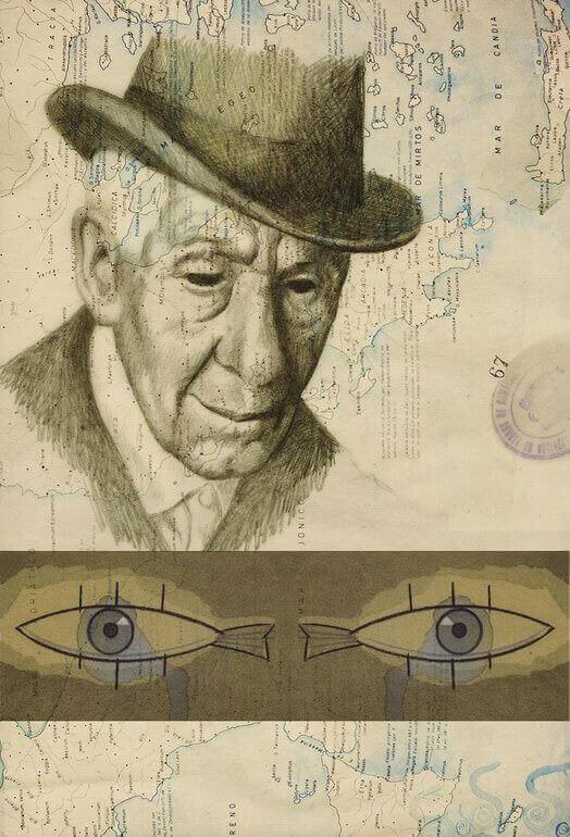 Il poeta Kavafis in un ritratto di Federico Delicado