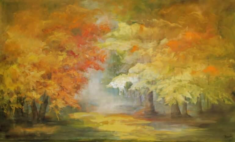 Un'opera di Karin Feurich intitolata Al lago in villa