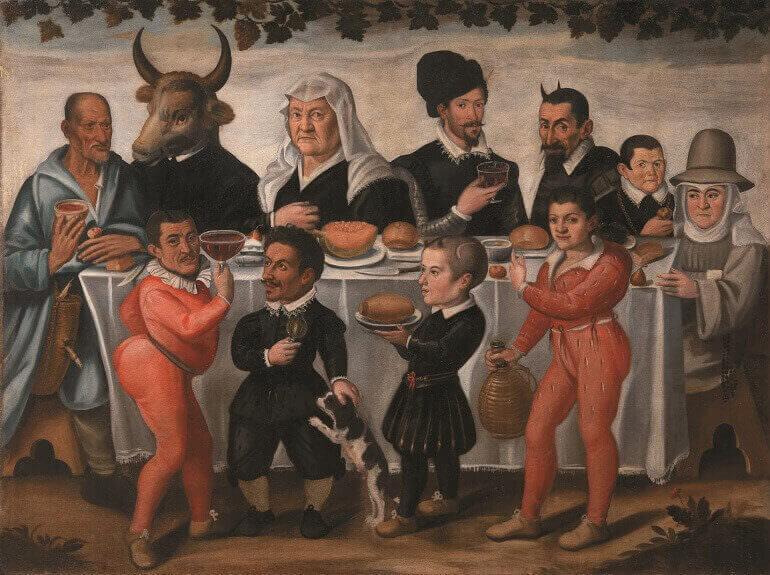 Anonimo pittore toscano del XVII secolo, Banchetto grottesco