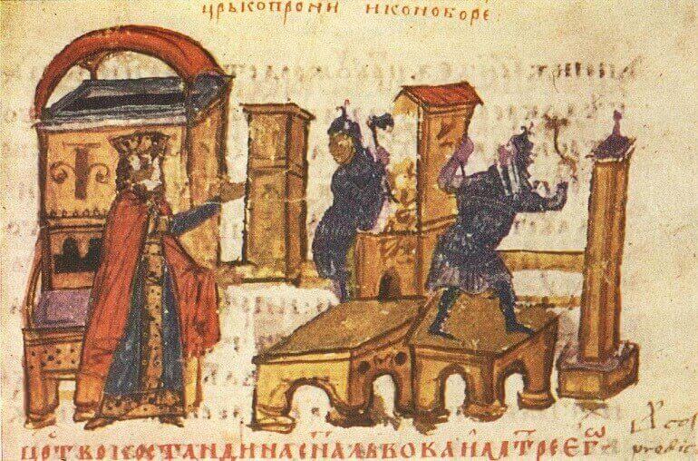 Costantino V ordina la distruzione delle icone, miniatura dalla Cronaca di Costantino Manasse