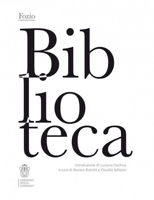 La copertina dell'edizione della Normale di Pisa della Biblioteca di Fozio