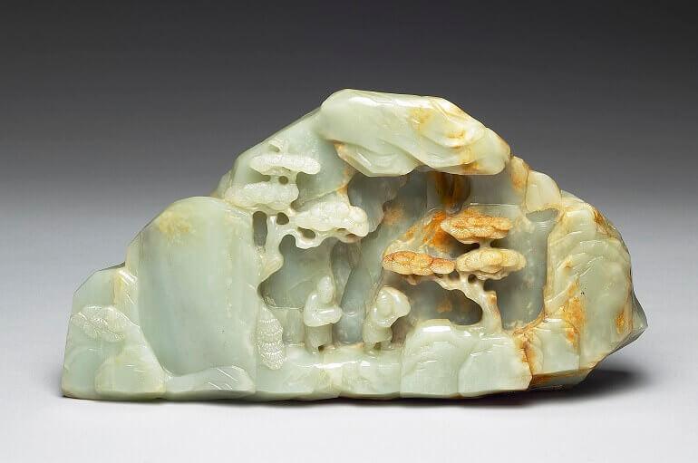 Miniatura di montagna (shanzi): estrazione della giada