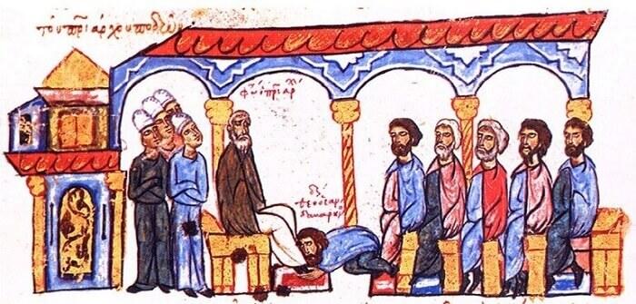 Il monaco Sandabarenos bacia i piedi al patriarca Fozio I