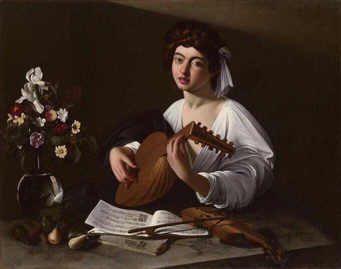 """Michelangelo Merisi detto Caravaggio, """"Il suonatore di liuto"""", olio su tela – collezione privata – Europa"""