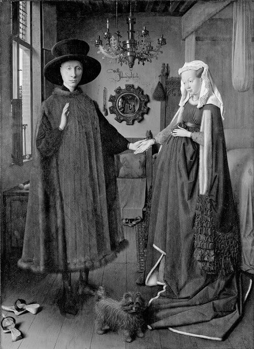 Jan van Eyck, I coniugi Arnolfini: una riproduzione in bianco e nero