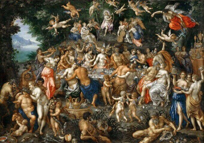 Hendrik de Clerck, Le nozze di Peleo e Teti, dipinto su rame
