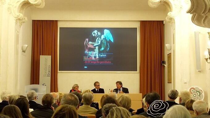 """Rossella Vodret, Pierluigi Panza e Paolo Jorio alla presentazione milanese del libro """"Il mistero dell'angelo perduto"""""""