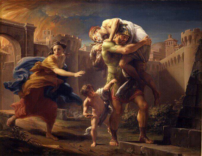 Pompeo Batoni, Enea che fugge da Troia in fiamme, 1754-1756 | Musei Reali Torino - Galleria Sabauda