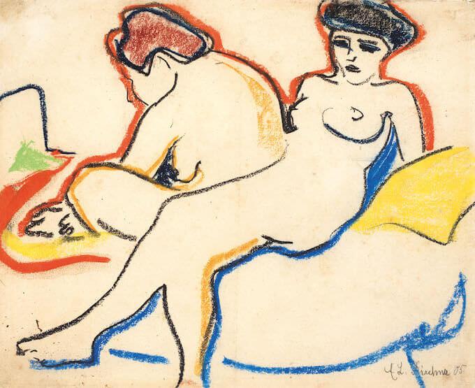 Kirchner, Due nudi sul letto, 1907-1908, Kunstmuseum Bern