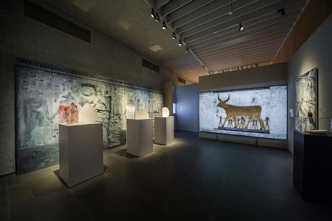 """Una sala della mostra """"Scanning Seti"""" al Museo di Antichità di Basilea"""