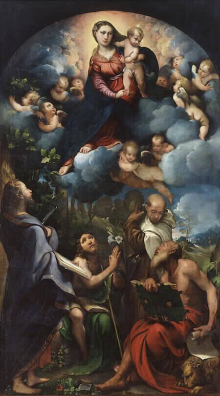 Camillo Boccaccino, Madonna col bambino in gloria tra i santi Bartolomeo, Giovanni Battista, Alberto da Trapani e Girolamo (Pinacoteca di Brera)