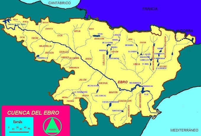 Cartina della Valle dell'Ebro