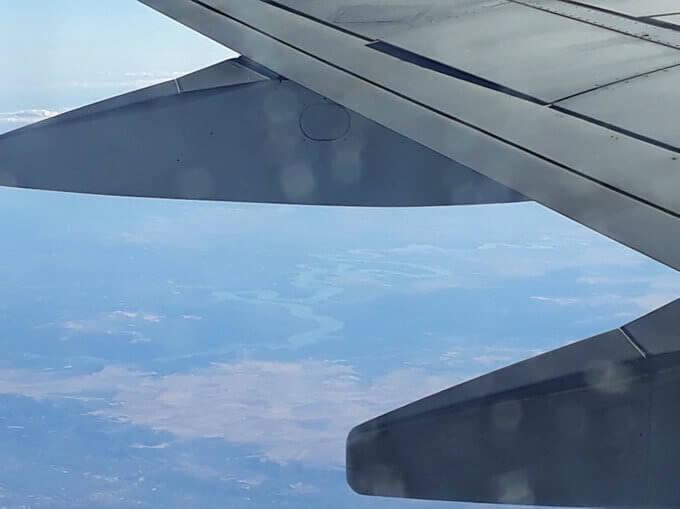 Il fiume Ebro visto dall'aereo
