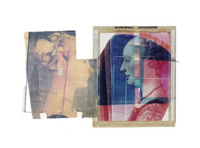 Paolo Gioli, Museo1984, Polaroid type 59 e seta serigrafica, matita