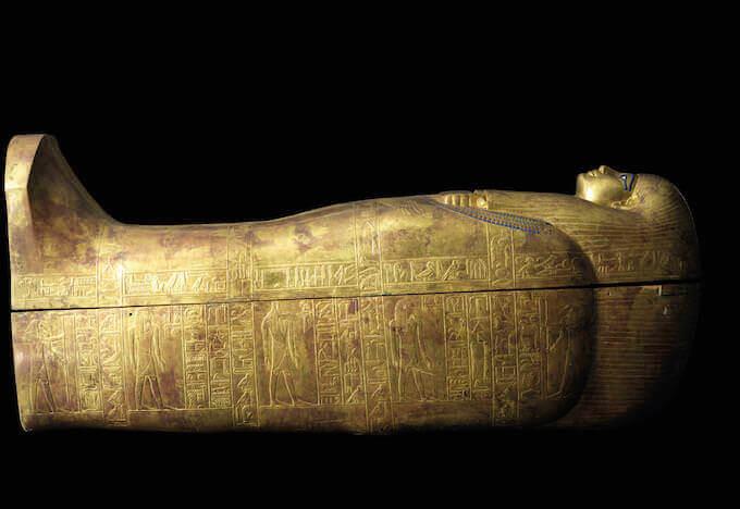 Sarcofago di Tuya. Legno, oro, argento. Valle dei Re, tomba di Yuya et Tuya XVIII dinastia, regno di Amenofi III - Il Cairo, Museo Egizio, JE 68965, JE 95233 © Laboratoriorosso Srl