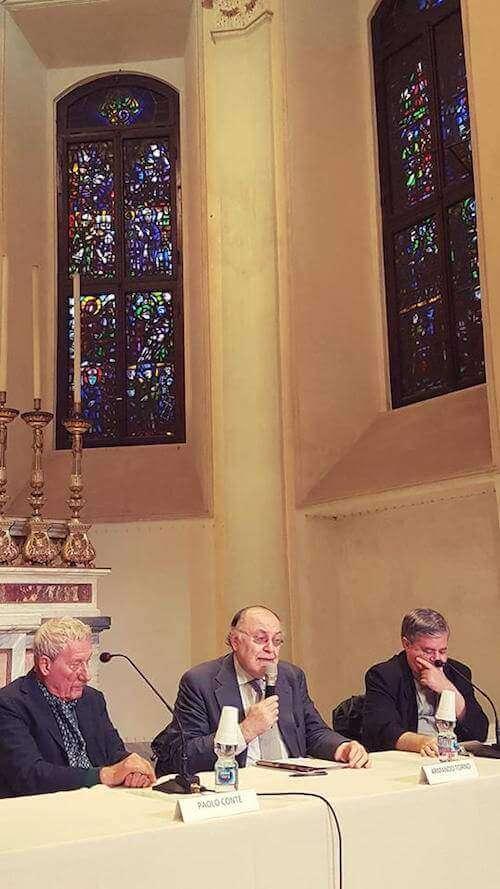 Paolo Conte alla Scuola della Cattedrale di Milano, con Armando Torno e monsignor Borgonovo
