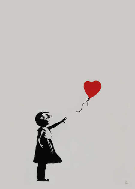 Banksy, Girl with Red Balloon, 2004. Credito fotografico: Butterfly Art News Collection