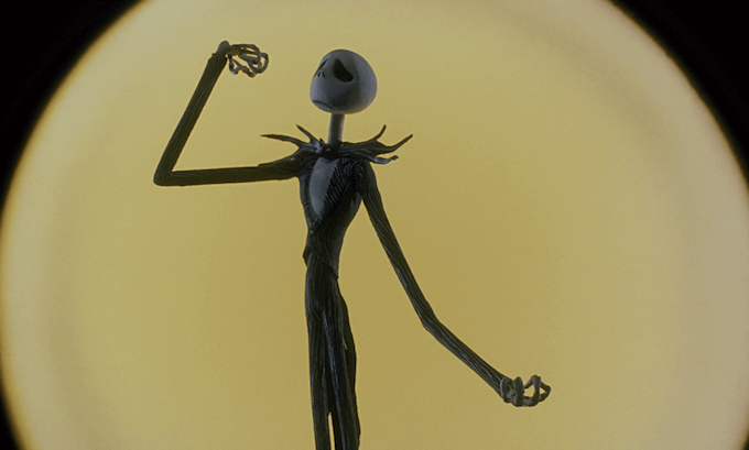 "Jack Skeletron, protagonista del film d'animazione ""The Nightmare Before Christmas"""
