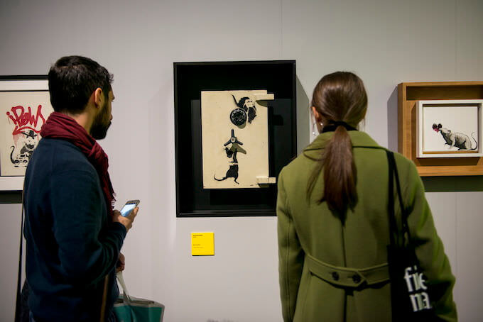 Una sala della mostra di Banksy al MUDEC di Milano