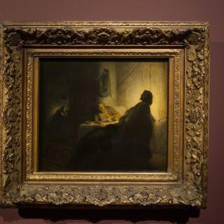 Rembrandt, La Cena dei pellegrini di Emmaus. Esposta temporaneamente alla Pinacoteca di Brera di Milano, in prestito dal Musée Jacquemart-André di Parigi