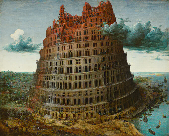 """La Torre di Babele (la cosiddetta """"Piccola Torre"""") di Pieter Bruegel il Vecchio, conservata al Museo Boijmans Van Beuningen di Rotterdam"""
