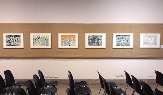 """Alcune opere di Mino Maccari esposte alla mostra """"E Sciascia che dice?"""" alla Raccolta Bertarelli di Milano"""