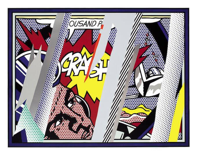 Roy Lichtenstein, Reflections on Crash (1990). Litografia, serigrafia, rilievo e collage in PVC metallizzato con goffratura su carta Somerset fatta a mano. 150.2 x 190.5 cm Collection Lex Harding © Estate of Roy Lichtenstein