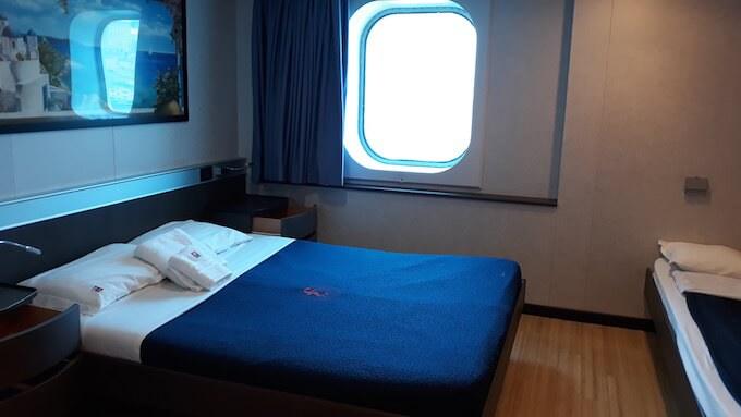 Una cabina della nave Cruise Europa della Minoan Lines