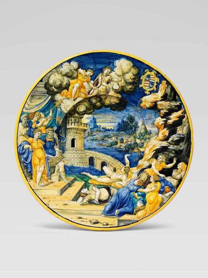 Piatto, La morte dei figli di Niobe. Urbino, bottega di Francesco Durantino, 1537-45. Collezione privata