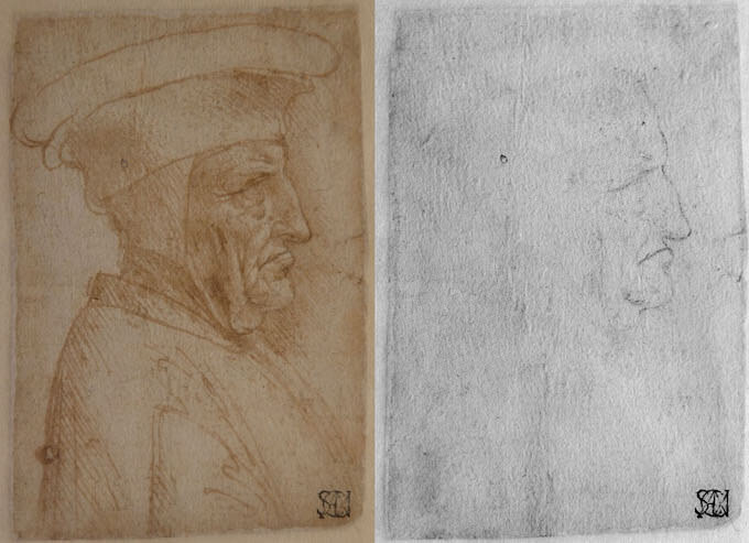 Leonardo da Vinci, Uomo di profilo con cappello. © Veneranda Biblioteca Ambrosiana / Mondadori Portfolio