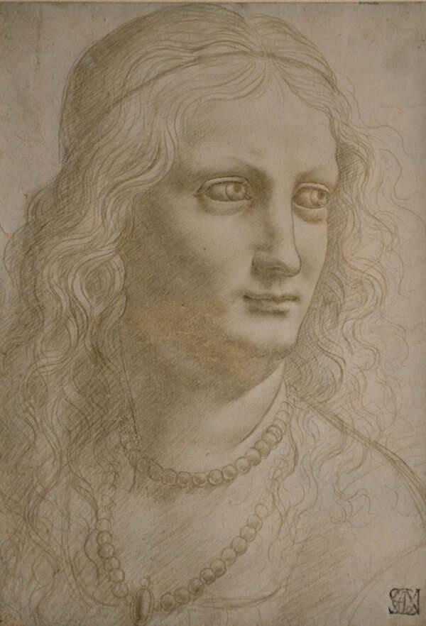 Maestro della Pala Sforzesca, Busto femminile con collana di perle. © Veneranda Biblioteca Ambrosiana/Mondadori Portfolio