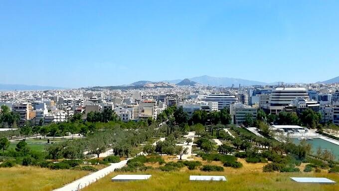 Vista di Atene dalla Fondazione Stavros Niarchos