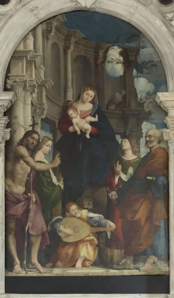 Il Pordenone, Madonna con il Bambino in trono tra i santi Giovanni Battista, Caterina, Pietro e Daniele