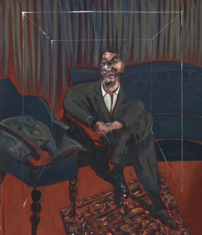 Francis Bacon, Seated Figure (CR 61-16), 1961, Oil paint on canvas, 1651 x 1422 mm. Tate: Presented by J. Sainsbury Ltd 1961 © The Estate of Francis Bacon. All rights reserved by SIAE 2019. Photo: © Tate, 2019