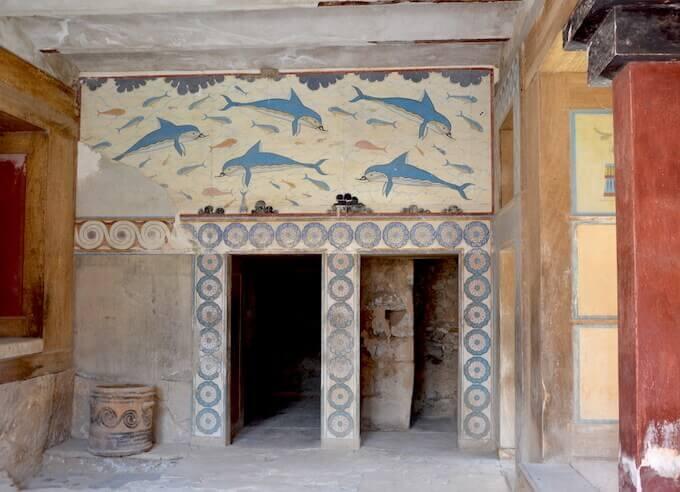 Cnosso: sala con affresco di delfini