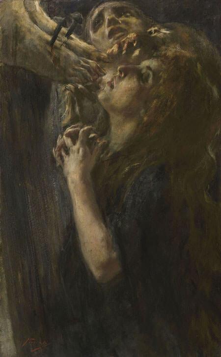 Gaetano Previati, Le tre Marie ai piedi della Croce, 1898. Olio su tela, 90x56,1 cm. Collezione privata © 2019 Dithec Srl FattoreArte
