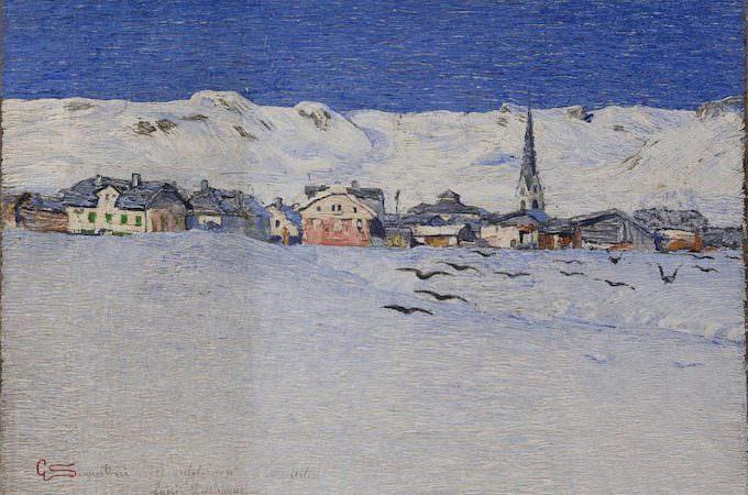 """Giovanni Segantini, """"Savognino sotto la neve"""", Collezione privata"""