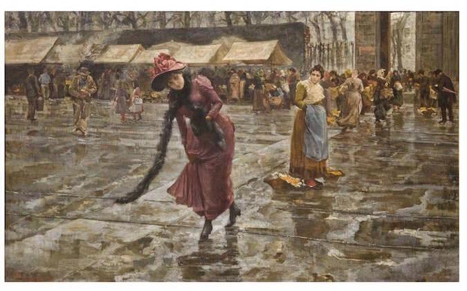 GiovanniSottocornola, FuoriPorta,1891. Olio su tela,135x220 cm. Collezione privata