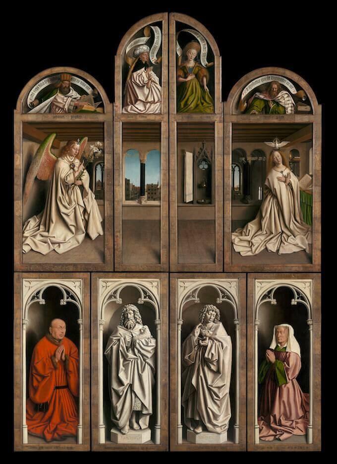 Van Eyck, Adorazione dell'Agnello Mistico (pannelli esterni)