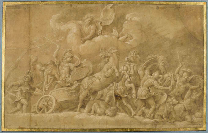 Giulio Romano, Diomede combatte contro i fratelli Ideo e Fegeo, Musée du Louvre, Département des Arts graphiques, inv. 3529r.