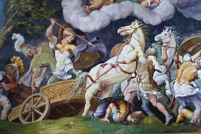 Giulio Romano e bottega, Diomede combatte contro i fratelli Ideo e Fegeo, Mantova, Complesso Museale Palazzo Ducale, Sala di Troia