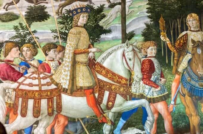 Benozzo Gozzoli, La cavalcata dei Magi (particolare), Palazzo Medici RIccardi a Firenze